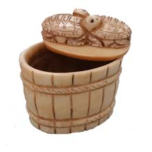 OX BONE CARVED BASKET W/ TURTLE